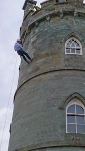 Duke of Argyll abseiling Inveraray Castle for Stramash. Copyright John Patrick