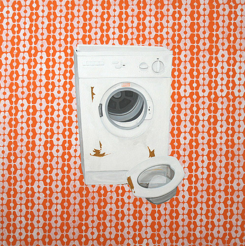Washer on Orange Pattern, Acrylic & Oil on Canvas, 31cm x 31cm by Robin Clare