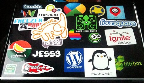 Stickers from #SXSW for the MacBook Pro. You may know a few of these  companies.