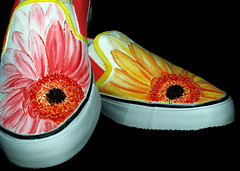Back to Nature #1: Gerbera Daisies (damndirtyangel) Tags: flower floral daisies shoe shoes hand painted gerbera daisy vans custom customize