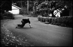 Chris Shuttleworth 1 (Greg Nissen) Tags: leica yellow 50mm greg skateboarding scanner or voigtlander skating 11 downhill eugene mc filter pre k2 epson neopan 100 meter m3 rodinal f11 19 nokton minutes drift 20c 1100 acros nissen shred gnar longboarding 4490