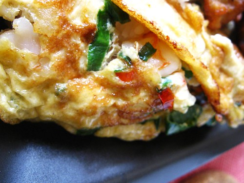 Prawn and spring onions omelette