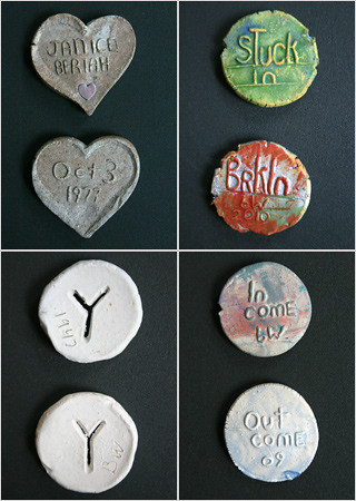 Beriah Wall ceramic coins