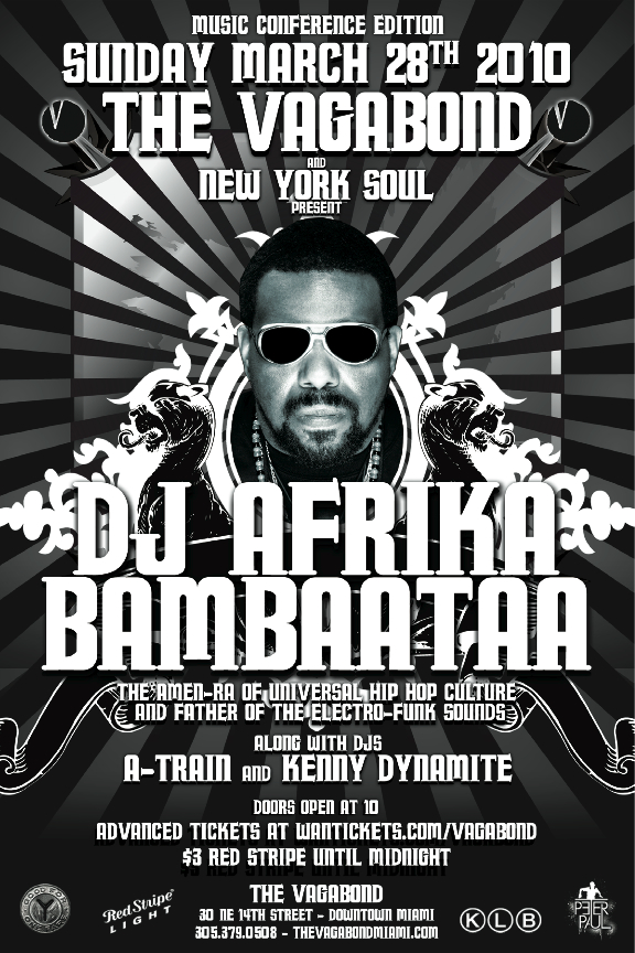 SUNDAY WMC: Afrika Bambaataa w/ A-TRAIN / KENNY DYNAMITE / PETER PAUL