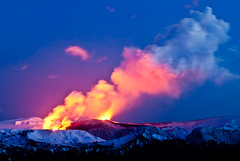 Volcano erupts in Iceland - 21. march 2010 (jovinsson) Tags: blue winter shadow red sky mountain snow ice nature water night landscape fire volcano lava iceland cool evacuation colorfull huge eruption brutal katla icelandic snjr longexposer erupts fimmvruhls myrdalsjokull ashcloud naturewatcher