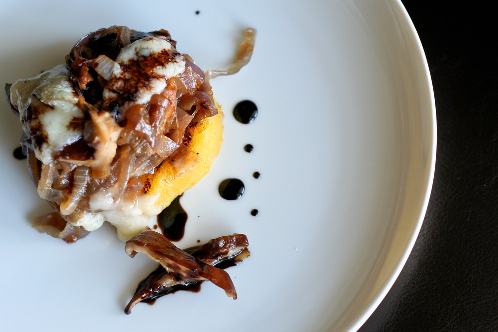 Grilled Polenta with Shiitakes, Onions & Gorgonzola