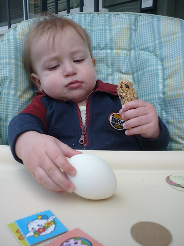 Zarek checking out his egg