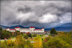 Storm over Mt. Washington Hotel (rework) (Rob Hanson Photography) Tags: autumn mountain storm fall clouds photoshop nikon scenery scenic newengland newhampshire mtwashington fallfoliage layers 2009 hdr hdri mountwashington wwh rework ldr d90 photomatix mountwashingtonhotel tonemapping tonemap