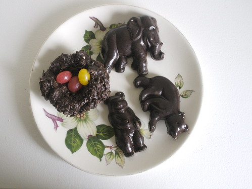 dark chocolate nests and some out of scale animals