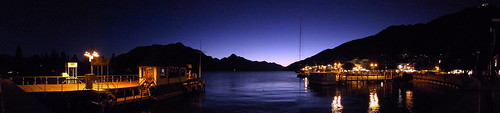 Queenstown wharf night pano
