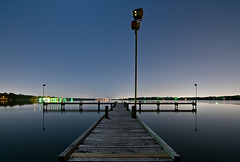 White Rock (Noel Kerns) Tags: white lake water rock night mirror pier dallas texas