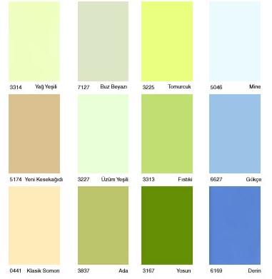 DYO renk katelası kartelasi kataloğu katalog katalogu Yağ Yeşili – Buz Beyazı – Tomurcuk – Mine – Kesekağıdı – üzüm Yeşili -Fısıkiçi – Gökçe – Somon - Ada – Yosun -Derin