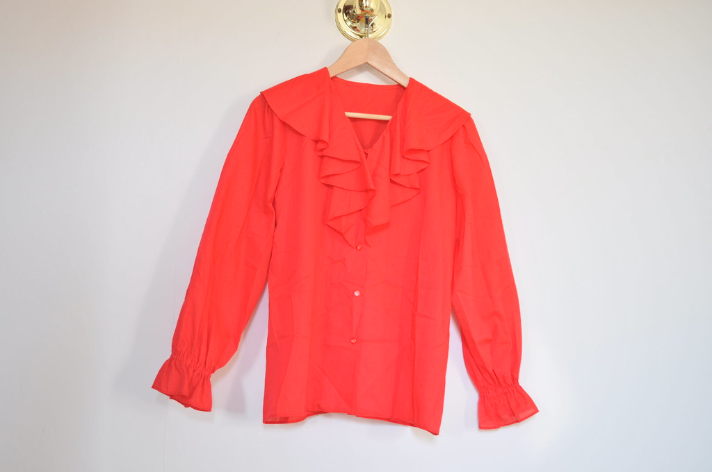 vintage red ruffle top