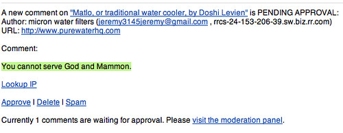 You cannot serve God and Mammon, when buying sustainable water coolers.