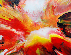 Fluid Painting Acrylic Effects (markchadwickart) Tags: pink red white black color colour art wet water beautiful yellow painting landscape effects colorful warm paint artist acrylic bright mark vibrant fine explosion vivid canvas fluid rivers oil colourful rectangle explosive chadwick