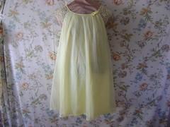 Yellow chiffon (HeidiGo Lightly) Tags: vintage apron nylon slips halfslip sexyhousewife