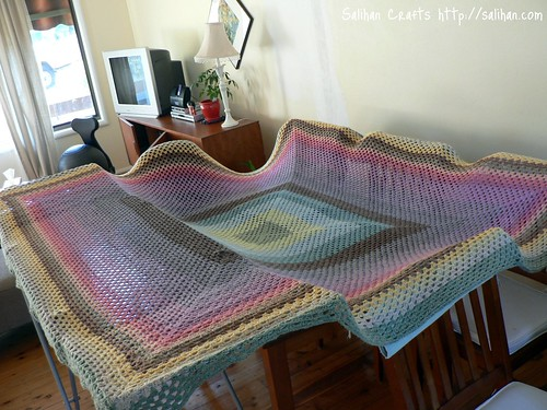 Drying Giant Granny Square blanket