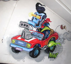 hot wheels (RABBIT EYE MOVEMENT) Tags: vienna wien street urban hot art graffiti gallery ride wheels joy rod pimp nero inoperable nychos tomsta