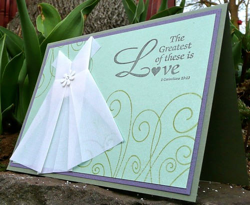Wedding card with origami dress