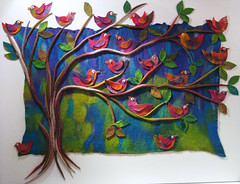 Trees and Birds (studiofelter) Tags: colour art birds merino wallhanging wetfelting feltbirds feltwallhanging