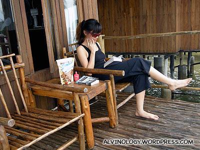 Rachel doing some quiet reading