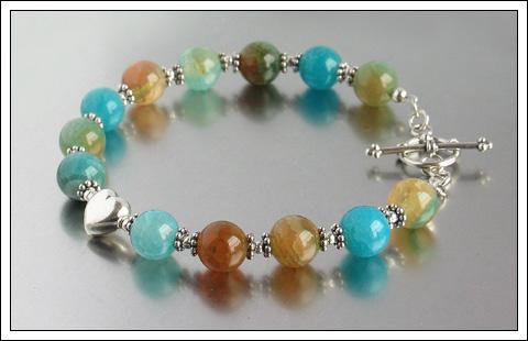 Agate & Bali silver bracelet