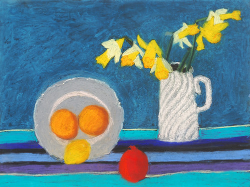 """Daffodils and Fruit - pastel on paper 22"""" x 30"""" $1100"""
