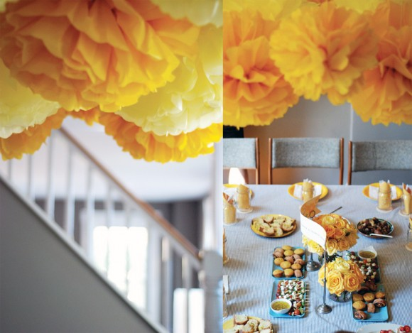 yellow-gray-wedding-party-decor-yellow-tissue-paper-pom-poms-580x469