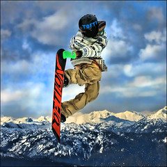 ~ Canadian Fun ~ (ViaMoi) Tags: winter snow canada ski mountains sport whistler photo spring skiing britishcolumbia snowboard april bigair blackcomb snowpark 2010 actionphotography telusfestival toegrab viamoi topazadjust40