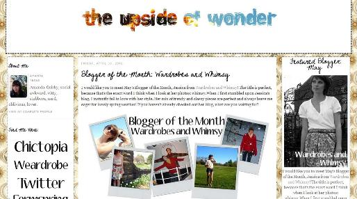 The Upside of Wonder May Blogger of the Month