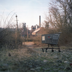 (dans240z) Tags: abandoned industry 120 6x6 tlr film analog mediumformat square pittsburgh decay neglected earlymorning shoppingcart smokestack analogue furnace kodakportra160vc kmart twinlensreflex rustbelt westernpennsylvania 75mm carriefurnace rolleicordiv steelcity steeltown pittsburghphotographer danwetmore schneiderxenar pittsburghmetropolitanarea dans240z steelcityportfolio