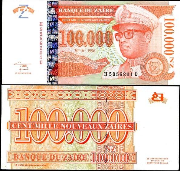 100000 Nouveaux Zaires Zair 1972