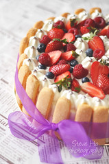 girly (*steveH) Tags: birthday cake fruit dessert strawberry berry sweet cream birthdaycake raspberry chantilly ladyfinger steveh bluebery