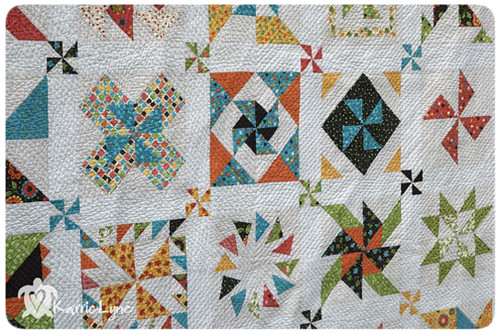 Quilting on Pinwheel Quilt