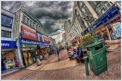 148/365 - HDR - High.Street's.Ghost.Trip.@.1150x766 (Pawel Tomaszewicz) Tags: street light shadow wallpaper england sky fish eye colors beautiful architecture clouds photoshop canon shopping lens eos photo high europe view angle image photos wide picture wideangle ps images x fisheye dorset definition 1200 range 800 hdr hdri anglia iphone pawel cs3 ipad architektura chmury 3xp photomatix greatphotographers wyspa 400d wyspy eos400d 1200x800 photoshopcs3 tomaszewicz paweltomaszewicz