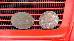 Magirus badge (Ilia Goranov) Tags: red classic car vintage germany emblem deutschland plate retro grill badge vehicle magirus    plaquette                shtuttgart