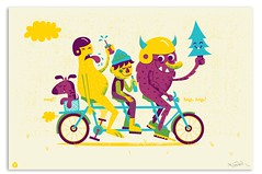 Beep, Beep, Bike Print (tad carpenter) Tags: dog bike bicycle monster tattoo illustration print fun happy design ride silkscreen critters safe artprint tadcarpenter