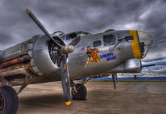 Liberty Belle B-17 Flying Fortress (Thad Roan - Bridgepix) Tags: chicago news clouds airplane photo colorado crash aircraft military denver b17 worldwarii boeing bomber propeller flyingfortress hdr 201005 warbird noseart facebook broomfield libertybelle photomatix jeffcoairport