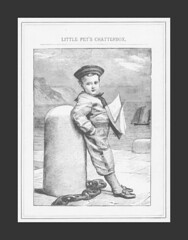 1885 Chatterbox - boy with sailboat (oldsailro) Tags: park old boy sea summer people sun lake playing beach water pool girl sunshine youth sailboat race vintage children fun toy boat miniature wooden pond model waves sailing ship child with time yacht antique group boom suit mat regatta sailor hull spectators watercraft 1885 adolescence keel fashioned chatterbox