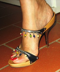 Zanotti high heel clogs (al_garcia) Tags: feet sandals clogs mules toering smelly toenalis