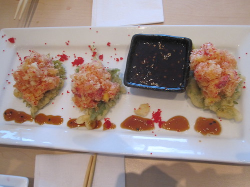Fried shiso leaf with spicy tuna at Mikasa