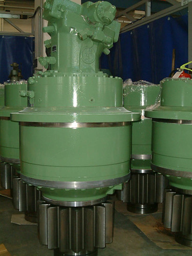 "Helical drives for ""TBM"" (Tunnel boring machine) rotating head control for the construction of highway, railroad, subway, hydro-electric, and forced conduit tunnels."