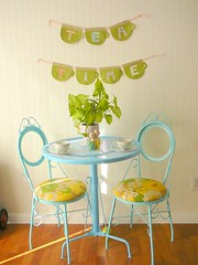 Dining area (Fallon Akers) Tags: kitchen vintage table tea turquoise patio dining beadboard