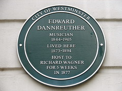 Photo of Edward Dannreuther and Richard Wagner green plaque