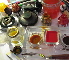 Tools, inks and watercolour (skyeshell) Tags: up set studio workspace setup artmaterials paletteknife drawingmaterials inkspens oldinkwells