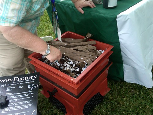 Start a worm composter with newspaper or shredded office paper as bedding and about one pound of redworms.