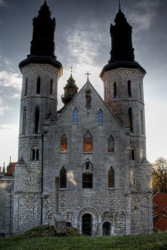 Visby cathedral front facade. Fachada frontal de la catedral de Visby