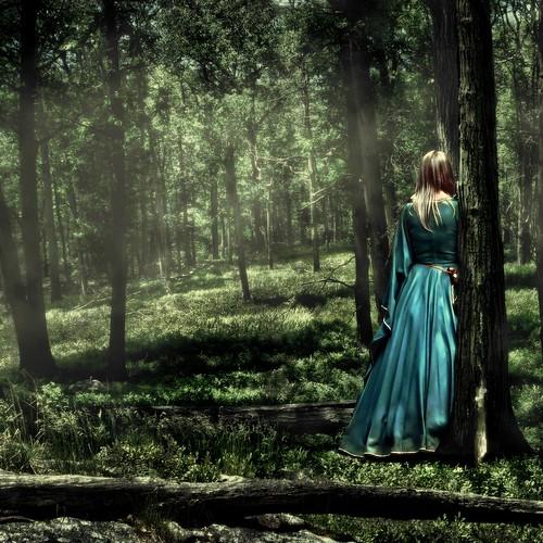 [フリー画像] 人物, 女性, 森林, 後ろ姿, グリーン, 201006050100