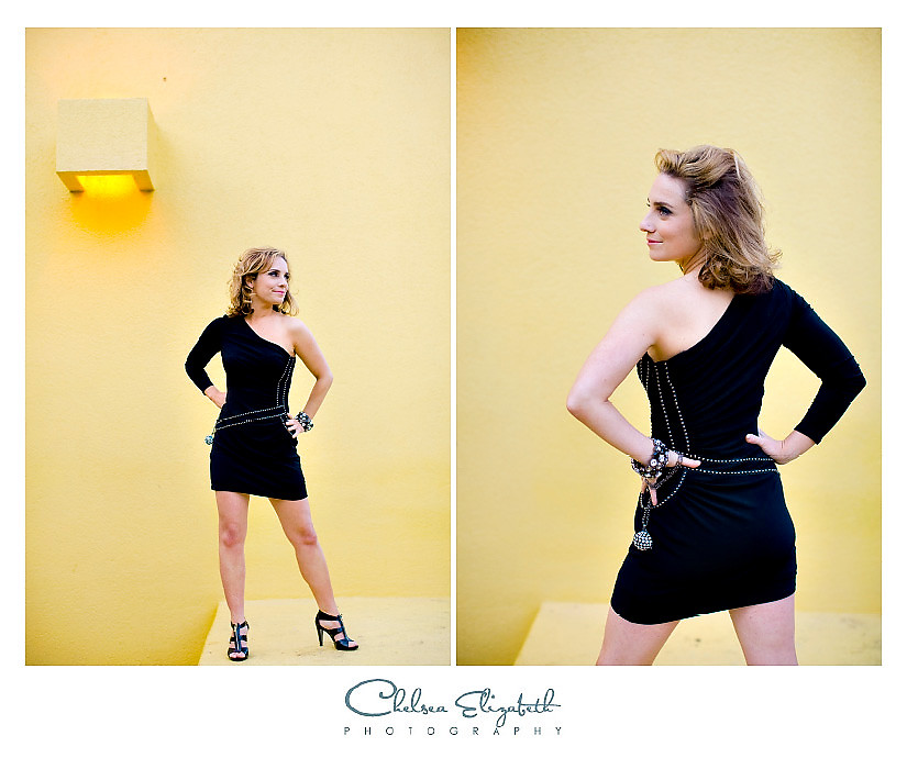 Yellow black little dress hard rock headshot portrait