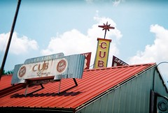 The Cub (Steve Snodgrass) Tags: red food film sign yellow metal bar club 35mm star cub holga louisiana neon steel lounge fine since roofline 1939 shreveport the